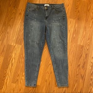 Lane Bryant Skinny Jean w/ Pearl and Stud Accents